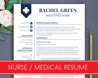 Resume template NURSE Doctor Cv nurse Resume doctor cv Medical resume Nurse cv template CNA Rn resume Nursing resume template Rachel Green