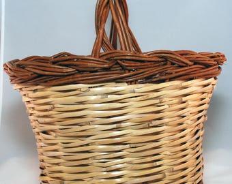 "Traditional Sicilian Willow ""Vimini"" Basket - ""Panaru"""
