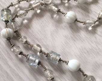 Milky white coconut colored long bead necklace