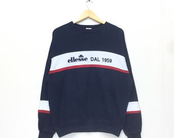 rare!! vintage ellesse big logo sweatshirt pullover crew neck Embroidery Spellout