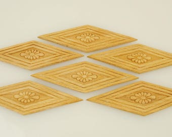 Wood Appliques 1- 3/4 X 5- 1/4 inches 6 Pieces