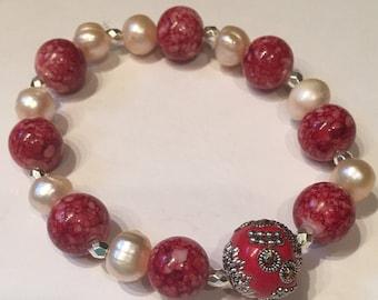 Stunning Red & Silver Beaded Bracelet