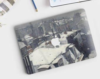 """Gustav Caillebote, """"Rooftops in the Snow"""". Macbook 15 skin, Macbook 13 skin Pro Air, Macbook 12 skin. Macbook decal. Macbook Art skin."""