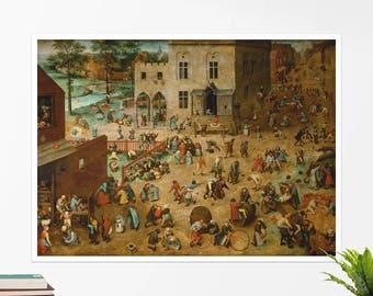 """Pieter Bruegel, """"Children's Games"""". Art poster, art print, rolled canvas, art canvas, wall art, wall decor"""