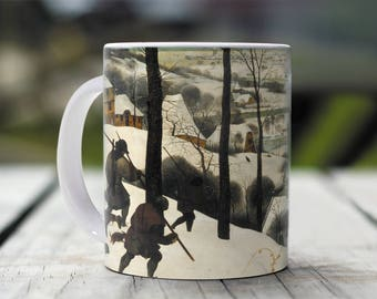 "Pieter Bruegel, ""Hunters on the Snow"". 11 oz Ceramic Coffee Mug."