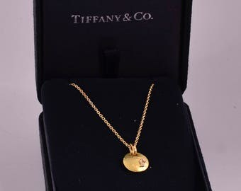 Tiffany & Co 18K Yellow Gold Paloma Picasso Hammered Disc Pendant Necklace
