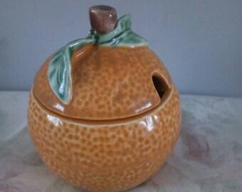 Vintage Secla Made in Portugal - Pottery Orange Fruit - Portuguese - green / Orange - Decorative Ornament