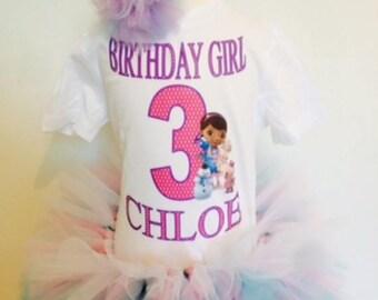 Doc Mcstuffins birthday outfit,girl's birthday outfit,first birthday tutu,Doc mcstuffins shirt,custom birthday shirt,Three tier tutu.