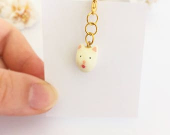Cute cat (nekojita) keychain or necklace