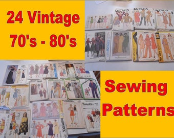 Lot of 24 Vintage 70's and 80's Simplicity McCall's Butterick and Vogue sewing patterns Liberty Freedom Designs