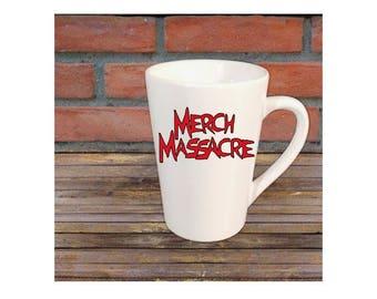 Merch Massacre Logo Horror Mug Coffee Cup Gift Home Decor Kitchen Bar Gift for Her Him Halloween