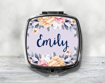 Custom Bridesmaid Gift - Personalized Wedding Compact - Purse Mirror
