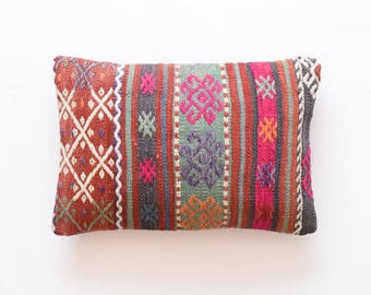 "Kilim rug pillow cover 12""x18"" (30x45cm) 011"