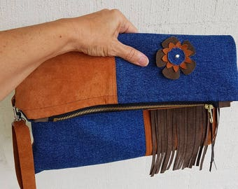 Clutch, Handmade, Eco-friendly, Upcycled fabrics,  Recycled,Zipper pouch, boho, I-pad bag, fold over clutch