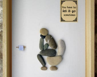 Pebble Art - Thinker on the loo with funny bathroom quotes - Rude art - Funny art -  Home Décor Gift - Handmade in France - 18x24 cm
