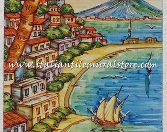 Decorative tile garden Napoli. Mosaic hand painted. Beautifull landscape tile. Tile customized. Tiles art backsplash. Decorative tiles