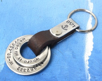 Personalized Mens Keychain,Custom Leather Keychain,Leather key chain,Keyholder,Leather keyholder,Keyfob holder,Keyfobs,Mens Leather Keychain