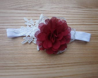 Baby Girl Burgundy Flower Lace Headband