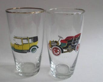 1970s Etched Glass Tumblers Rolls Royce and Ford