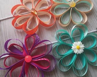 Flower Hair Bow   Hair Clip   Ribbon Flower