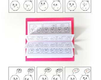 Mini comic strip - without words - Communication - notebook handmade