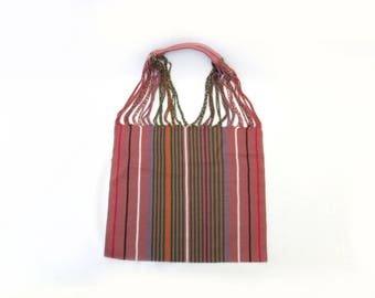 loom tote handbag - pink with green stripes - mexican bag