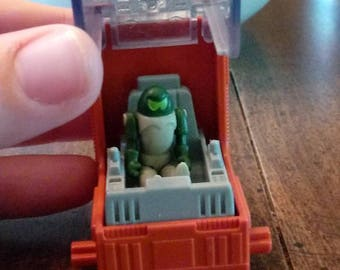 EXTREMELY RARE spaceship and alien, 1980s cereal box UPC label mail-away toy prize