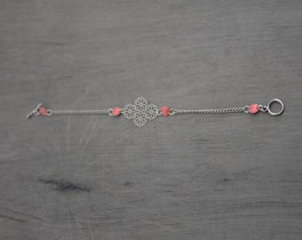 Pink and silver chain bracelet