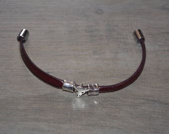 Men's animal head leather bracelet
