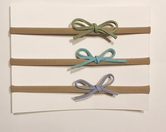 Suede Leather Bows/ mini baby bows/ bow sets/ you choose colors/ nylon headbands