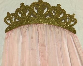 Crib or Bed Crown Canopy for Nursery or Royal Princess Party Backdrop with Sheers