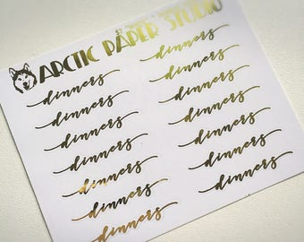 Dinner SCRIPTS - FOILED Sampler Event Icons Planner Stickers