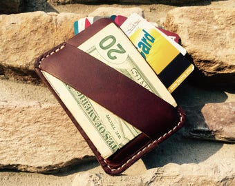 Minimalist Wallet, Leather Minimalist Wallet, Monogram Wallet, Engraved Wallet, Cash Strap, Personalized Mens Wallet, Best Minimalist Wallet