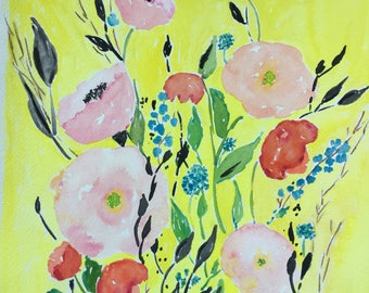 Original Watercolor Flower Yellow Pink Floral Painting