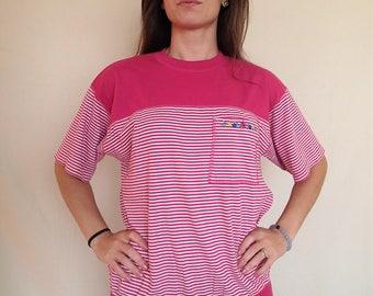 Pink striped 90s Karen Scott top