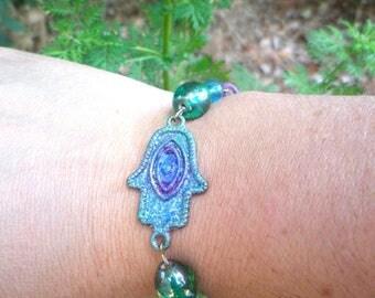 summery hand of Fatima bracelet enameled fluorescent