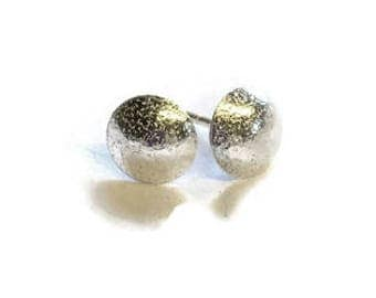Convex Disc Stud Earrings ('Frosted' Finish)