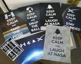 NASA Space HOAX Collection: 6 A3 Posters & 6 vinyl stickers
