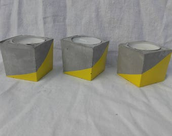 Candlestick cube pattern yellow concrete graphic