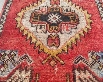 Oushak Small Rug,Vintage Turkish rug,Office Decor, Home Living,Area Rug,Small OUSHAK Floor rugs,1'7''x2'11''Feet,Pastel Pillow  Colors,