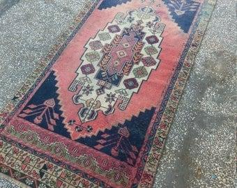 "Turkish Rug Vintage Oushak Rug,3'5""×7'1""feet, Oushak Rug Blue,Home Decorative Floor Rugs, Turkish Carpet Home living Area Rug, Rugs"