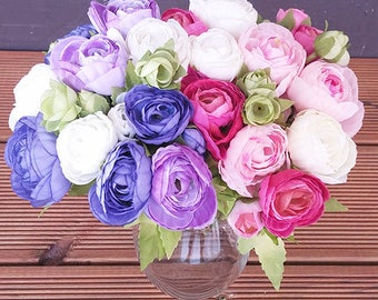 Artificial ranunculus bouquet / Flowers for Weddings / Centerpieces Home Decoration / Flower bouquet