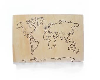Original Hand Illustrated Wooden World Map Playboard Block Game