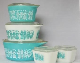 Turquoise Blue Butterprint Vintage Pyrex Set