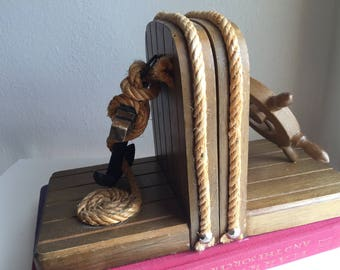 vintage nautical bookends anchor/ ship wheel / wood