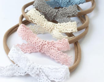 Hand Tied Crotchet Lace Bows - Lace Bows - Nylon Headbands - Baby Headbands - Hair Clips - Hair Accessories - Alligator Hair Clips