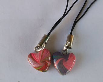 Polymer Clay, Swirl heart, cell phone charms