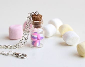 Necklace with glass bottle and marshmellow, resin necklace, necklace, resin necklace, necklace, resin bijoux, resin jewelery,