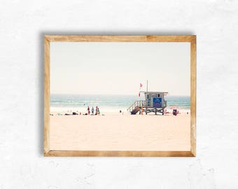 Instant Digital Download Manhattan Beach Photography Lifeguard printable Los Angeles California travel Print Wall Art DIY apartment bedroom