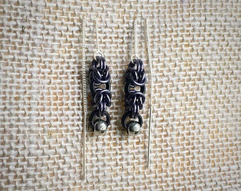 Chainmail Earrings, Ear Threads - Sterling Silver Ear Threads with Stainless Steel Bead Accents